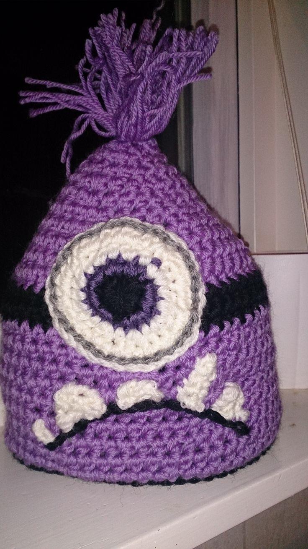 Purple minion crochet hat