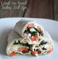 """Delicious easy low carb recipe. Greek """"no bread"""" Turkey Roll Up 141 calories 3 weight watchers points plus"""