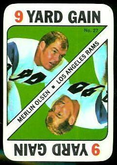 1971 topps football inserts  | Merlin Olsen - 1971 Topps Game #27 - Vintage Football Card Gallery