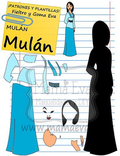Descarga gratis nuestras plantillas para goma eva y fieltro de tus personajes favoritos: Mulán, Mushu...