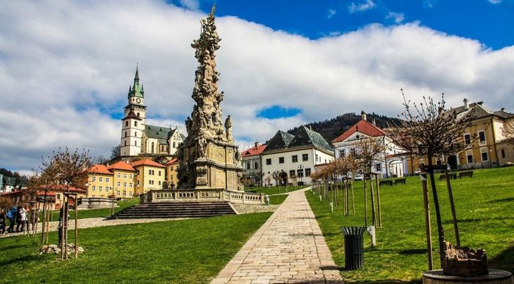 The main square of the town Kremnica. The Holy Trinity column is the main feature of this colourful square.