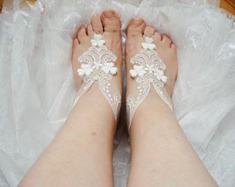 Sandali da spiaggia matrimonio a piedi nudi, sandali da spiaggia avorio da sposa Sandali a piedi nudi, sandali da sposa bianco, di luce
