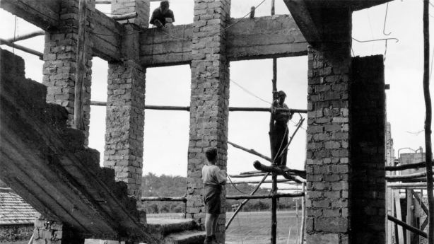 Building construction at Bindoon Boys Town, WA 1952 Reproduced courtesy of State Library of Western Australia, Battye Library.