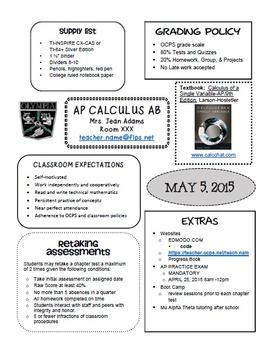 """My """"BTF"""" Best Teacher Friend and I worked for hours on creating a truly valuable Syllabus for our AP CALCULUS, PRECALCULUS, AP STATISTICS, and ALGEBRA 2 HONORS students. Here's a FREE POWERPOINT VERSION with some ideas of what we included.  Students can quickly find the important information that they need."""