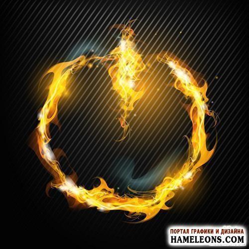 В векторе абстрактные фоны, рамки с огнем, огненные фигуры | Abstract background with fire