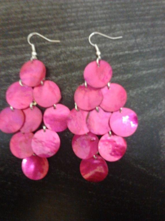 """Boucles d'oreilles """"chandelier""""-sequin rose 9.5cm"""