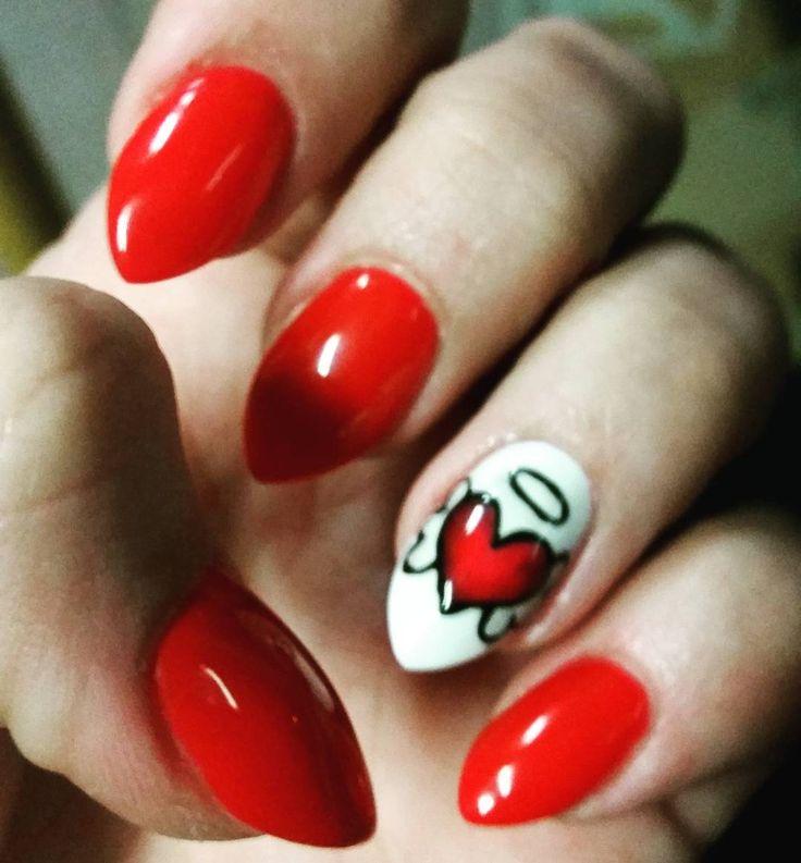 Drugie oblicze  #nails #paznokcie #czerwien #serce #rednails #hearts #walentynki #naturalnaplytka #mojepaznokcie #aniolek #angelheart #angel #valentines #polishgirl #instagirl #uwielbiamczerwien #valentinesnails