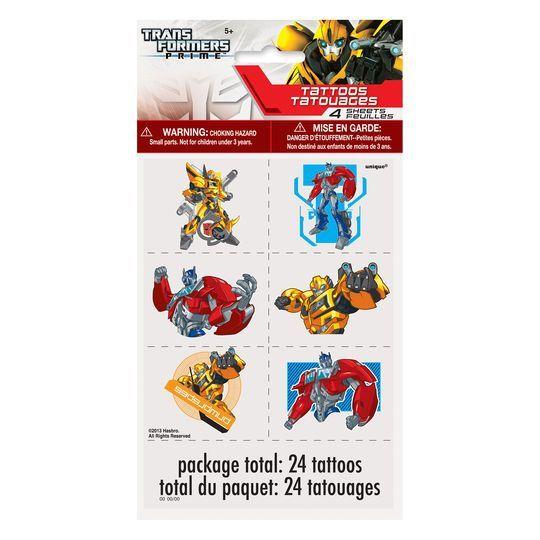 Transformers Tattoo Sheets, 4ct