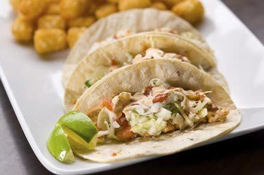 Fish Tacos with Fajita-Grilled Vegetables and Cilantro-Lime Slaw