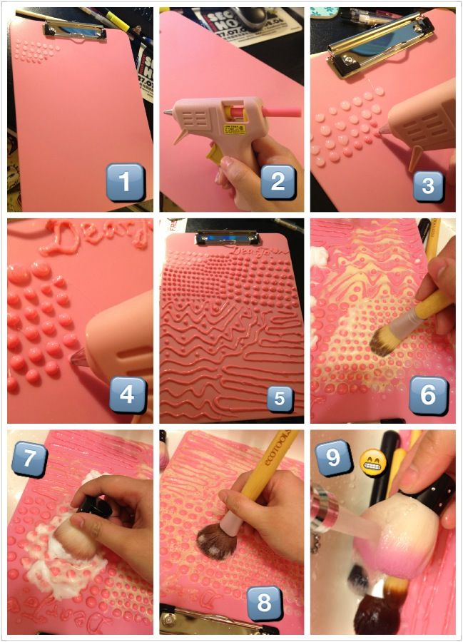 DIY a makeup brush cleaning board. Inspired by secretlifeofabionerd youtuber. This board works really well. What you need it's a clip board and a hot glue gun. Small dots are for eye shadow / smaller brush heads; bigger dots are for face powder/ bigger brush heads; the wave lines are for cleaning out the soap. Hope it works for u guys too! :)
