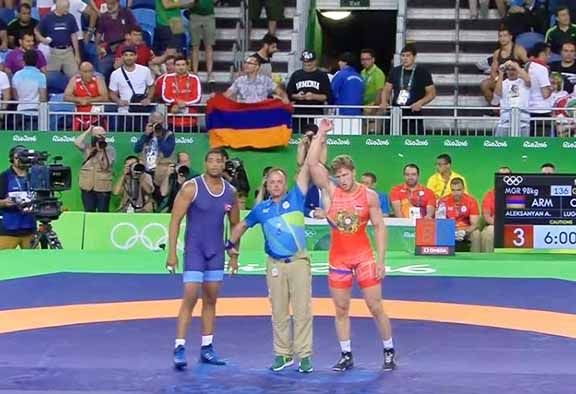 Artur Aleksanyan, Armenien vann guldet i herrarnas grekisk-romesk brottning 98kg, silver Daniel Lugo,Kuba, brons Cnk Ildem, Turkiet och Ghasem Rezaei, Iran.