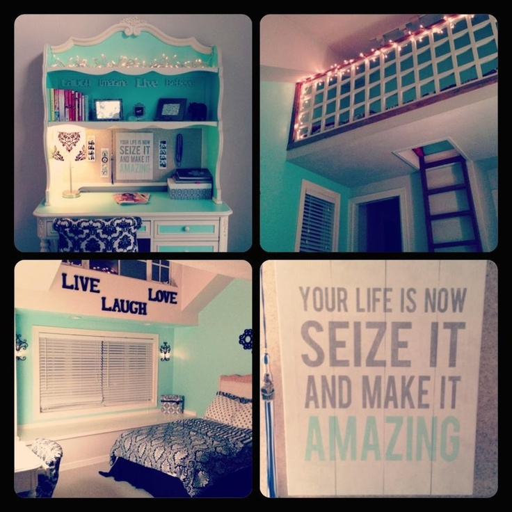 Christmas lights in the cutest mint color teen room !!