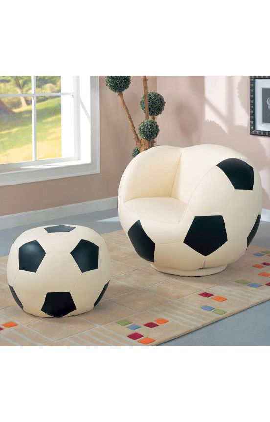 Coaster Company Chairs Soccer Ball Chair And Ottoman White