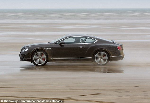 Speedy ride: The £175k Bentley driven by the actor did the trick, thanks to itssix-litre twin-turbo W12 engine, skimming easily across the Pendine sands