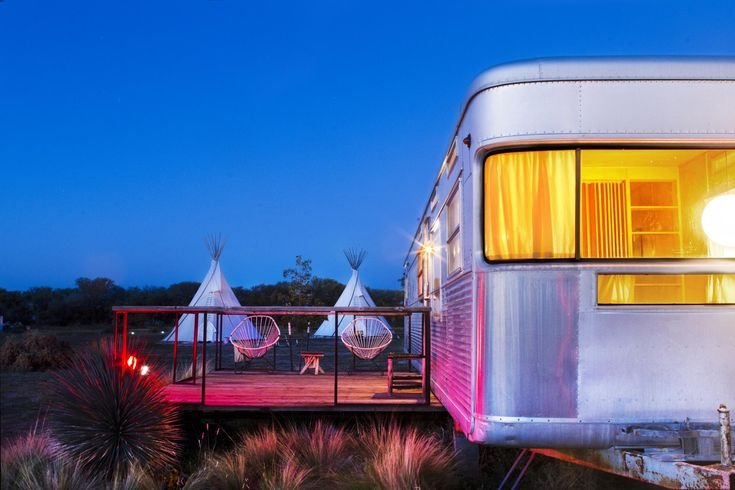 El Cosmico is a unique concept hotel designed for Bunkhouse Development in Marfa, Texas. Guest rooms are vintage Airstream trailers, yurts and teepees. Open-air communal spaces include an amphitheatre and shed pavilions.