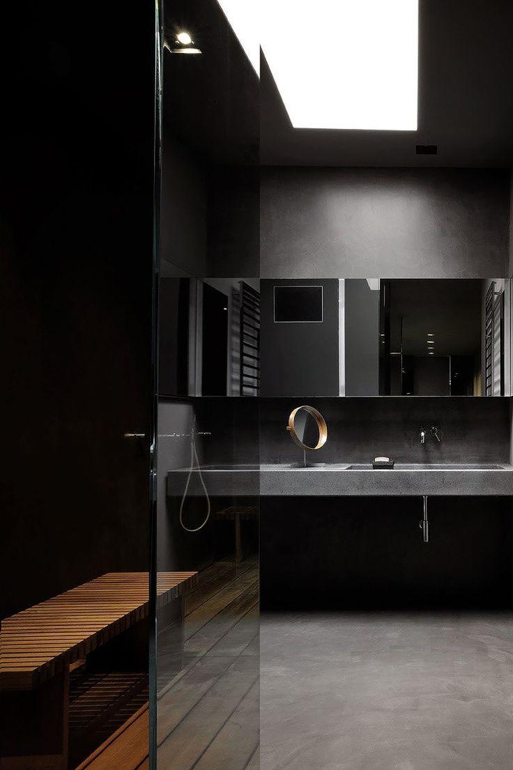 1000 id es propos de salles de bains sombres sur Salle de bain noir et gris