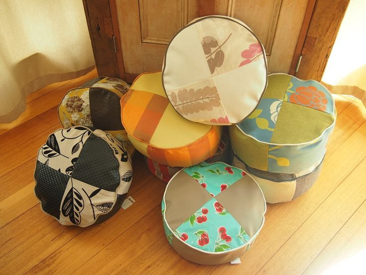Vintage-design pouffes.  Perfect footrest or additional seating.