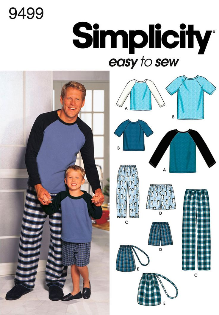 9499 Boys and Men Loungewear - Boys' and Men's Loungewear - Pants or Shorts, Bag and Knit Top