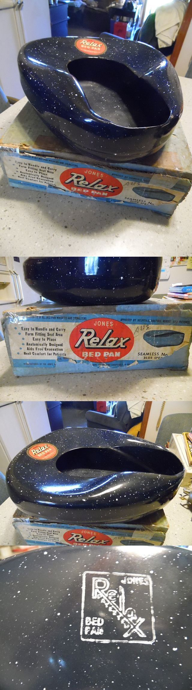 Portable Urinals and Bed Pans: New Old Stock- Jones- Relax Galvanized Bed Pan In Old Original Box. -> BUY IT NOW ONLY: $30 on eBay!