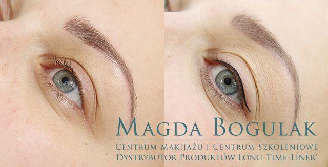 Oczy i brwi przed i po zabiegu makijażu permanentnego.