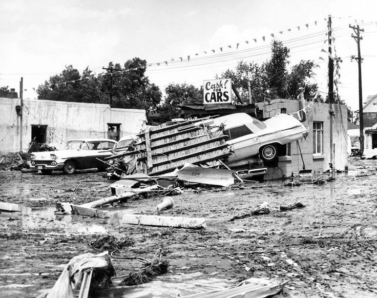A used car lot in the aftermath of the South Platte flood that ran through the Denver metro area on June 16, 1965