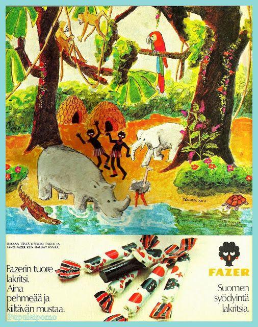 Fazerin lakritsit - Kuvitusta lehdestä Me naiset 3.3.1971