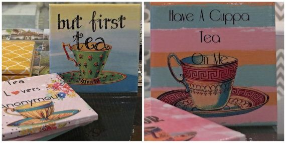 Tea Lovers Delight 4Piece Ceramic Tile Drink by LUSHCoasterLand