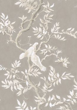 """Luxury Fabrics of Lewis & Wood in U.K. """"Doves""""  DOVES  The traditionally beautiful Doves has been created by Flora Roberts, a decorative muralist whose painting has a lyrical peaceful quality that is instantly appealing. It is both a fine printed linen and a distinctive wide width wallpaper - set to become an instant classic."""