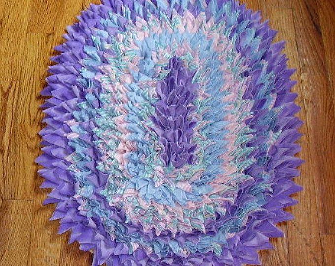 Baby Rug Lavender Unicorn Purple shag rag rug Handmade shag rug, hand sewn, Nursery decor, Soft throw rug, Girl, boy, Shower, accent rug