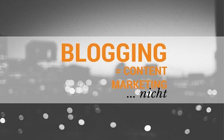 Vielleicht mache ich mir mit der Aussage nicht nur Freunde aber... Blogger schreiben über Content Marketing und Blogging als ob es Synonym wäre. Dabei ist das falsch...