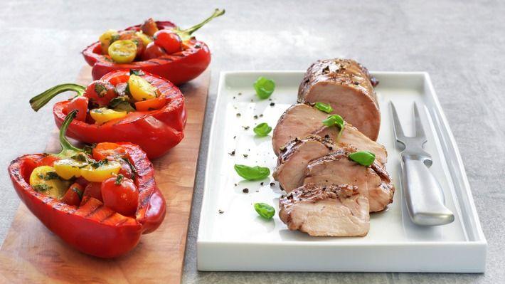 Glasert svinefilet med fylte paprika - Sunn - Oppskrifter - MatPrat