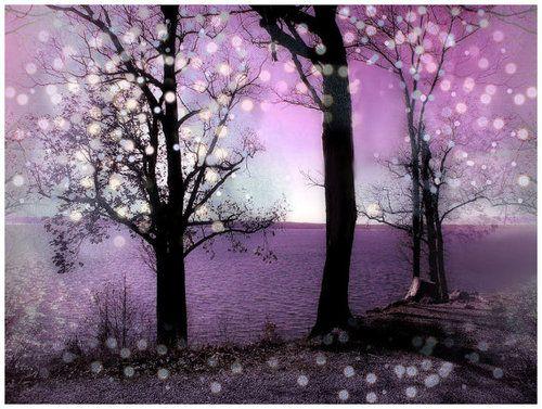 Purple Hearts Wall Art   Wall Decor Digital Collage Trees Lake Pink Purple  By AJoyfulStudio