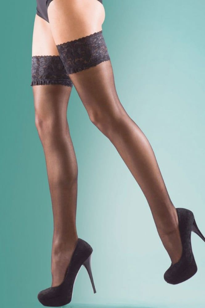 Black 15 Denier Ultra Sheer Lace Top Hold Up Stockings High Quality