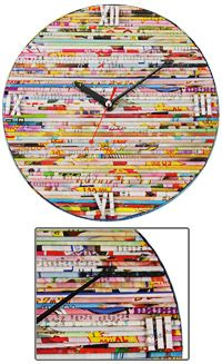 Glossy Treasures Recycled Magazine Wall Clock, $15 at thehungersite.com, fair trade & supports an orphanage in South Vietnam