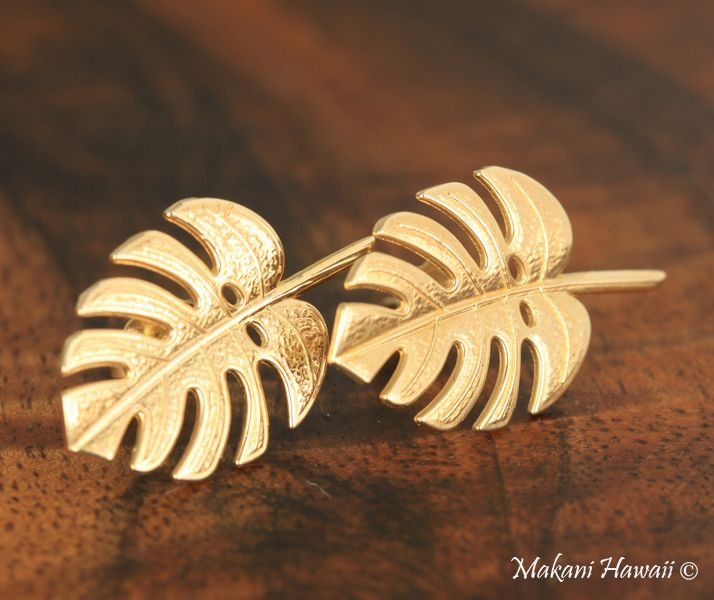 Monstera Leaf Earings 14k Yellow Gold - Makani Hawaii,Hawaiian Heirloom Jewelry Wholesaler and Manufacturer