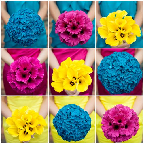bright bright bright bouquets: Colors Wedding, Colors Design, Graphics Design, Yellow Bouquets, Wedding Colors, Bridesmaid Dresses Colors, Blue Bouquets, Design Blog, Bright Colors