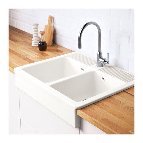 DOMSJÖ Onset sink, 2 bowls  - IKEA