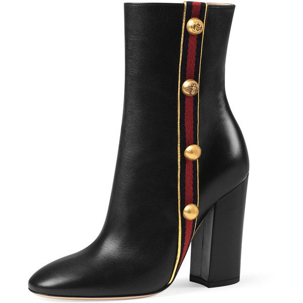 Gucci Carly Mid-Calf Globe Bootie (€1.165) ❤ liked on Polyvore featuring shoes, boots, ankle booties, gucci, schuhe, black, black bootie boots, leather booties, leather ankle boots and black leather bootie