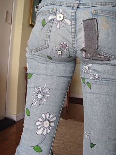 DIY hand painted jeans
