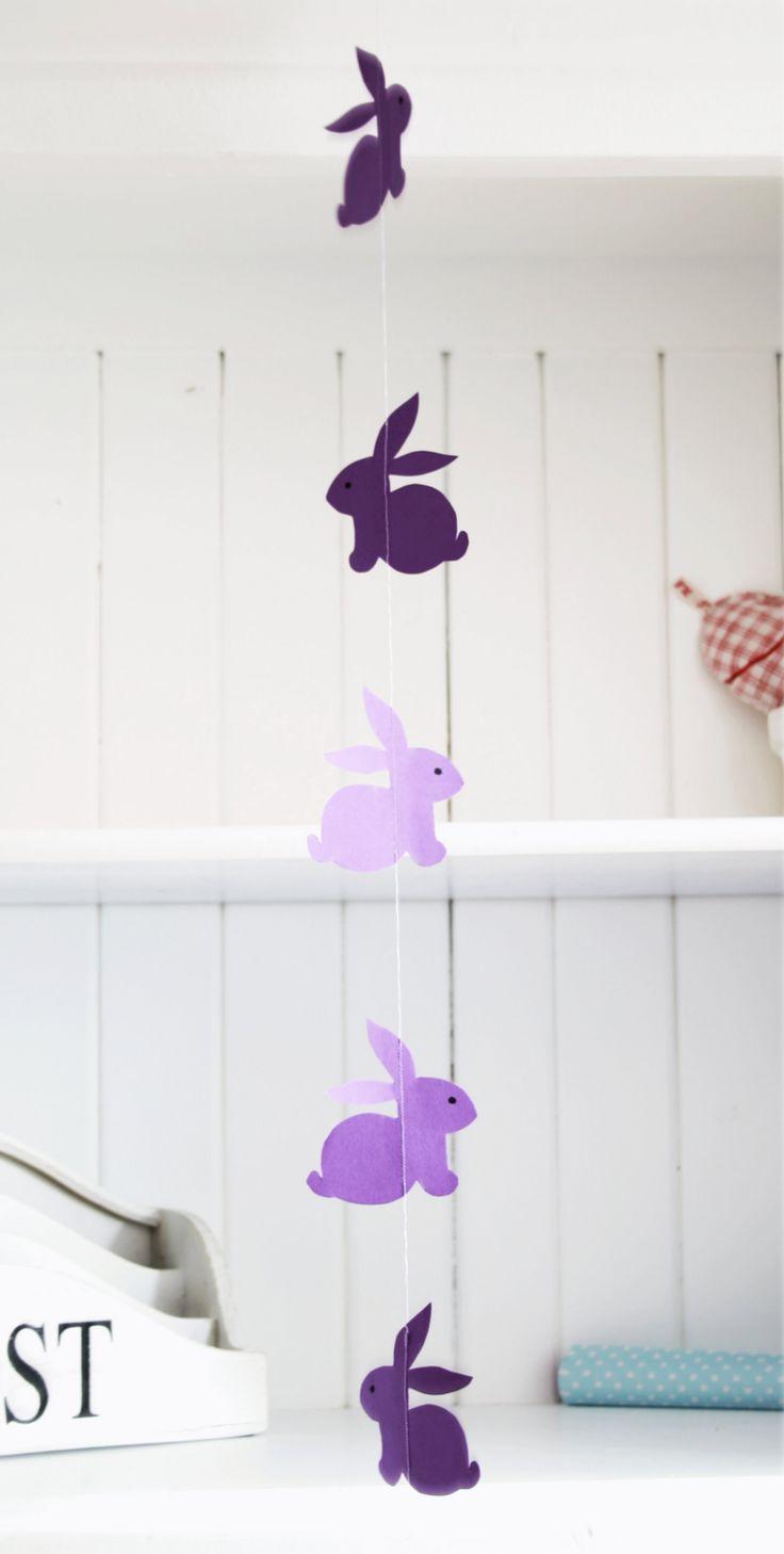 osterdeko ideen girlande osterhasen lila papier material