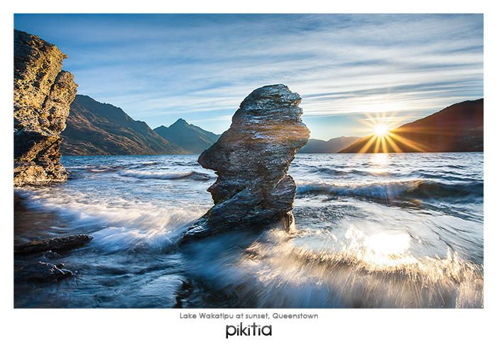 Postcard 'Lake Wakatipu at sunset, Queenstown' which is found in Pikitia's high quality range of postcards