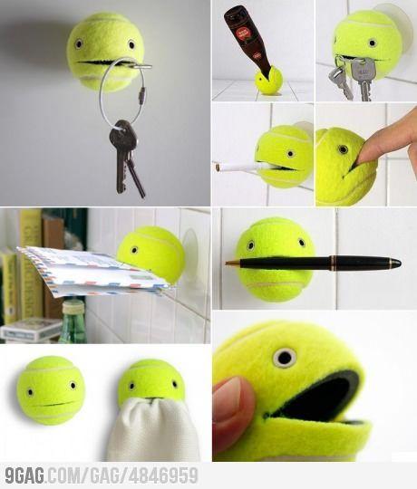 Recycling an old tennis ball.