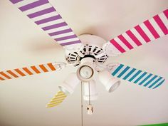 "DIY Striped Ceiling Fan for a kids or tweens room. So cute and costs just pennies to add that extra touch to change ordinary boring into ""Cool"". This DIY used paint but you could also just use colored tapes so you can change up later or if you live in an apartment they can be easily removed. Directions from: http://inmyownstyle.com/2010/05/how-to-make-a-ceiling-fan-fun.html"
