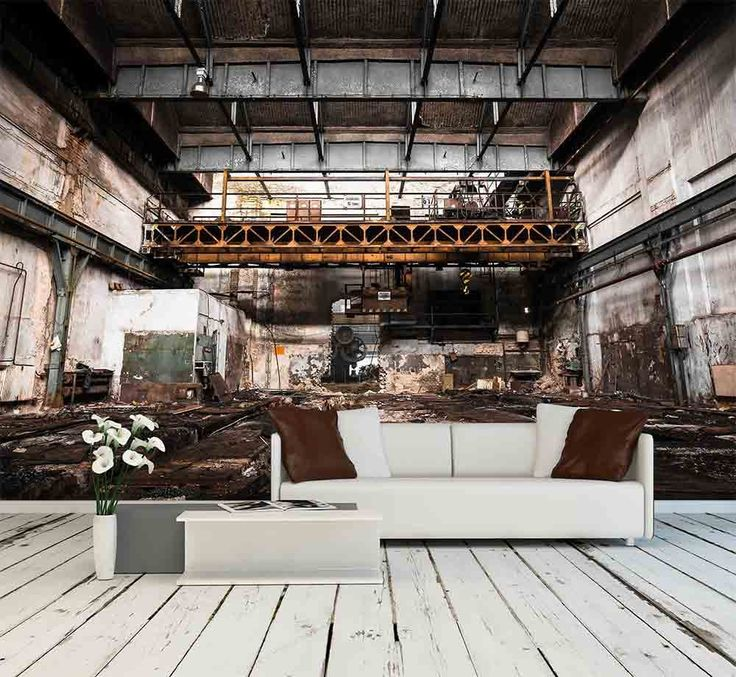 wall26 - Abandoned industrial interior with bright light - Removable Wall Mural | Self-adhesive Large Wallpaper - 100x144 inches