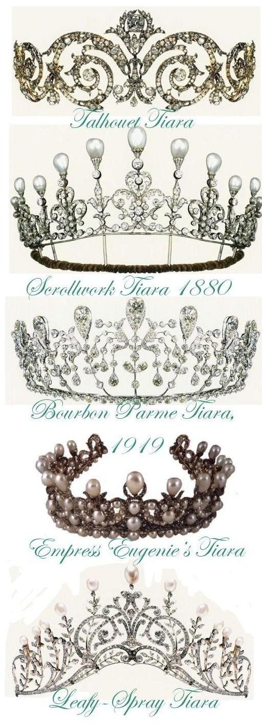 Talhouet Tiara, Scrollwork Tiara 1880, Bourbon Parme Tiara 1919, Empress Eugenie's Tiara, Leafy-Spray Tiara