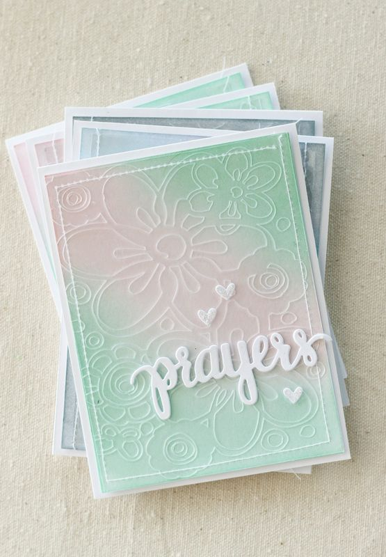 """Cards made using Simon Says Stamps """"Prayers"""" stamp set, Distress Ink backgrounds, and an etched acetate overlay."""