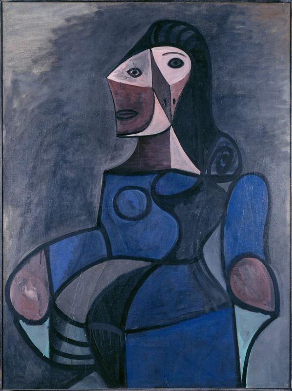Pablo Picasso -The work Femme en bleu, 1944. Oil on canvas. Centre Pompidou Paris