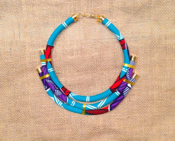 Blue African Print Ankara Necklace With Gold