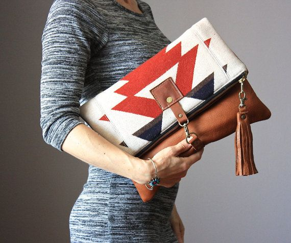 Leather fold over clutch fold over bag fold by VitalTemptation