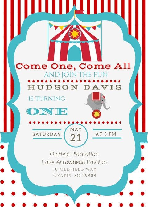 Circus Party Invite by SavPaperBoutique on Etsy https://www.etsy.com/uk/listing/478126095/circus-party-invite